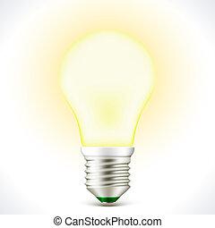 Lighted Energy saving bulb lamp - Vector Lighted Energy...