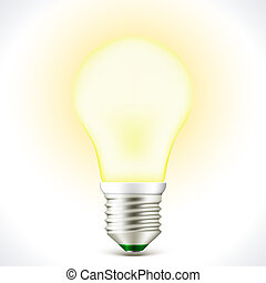 Lighted Energy saving bulb lamp isolated on white