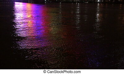 Lighted Footbridge Reflects Ohio River Louisville Kentucky...