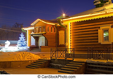 Lighted house. Irkutsk. Siberia. - 130 quarter. Irkutsk....
