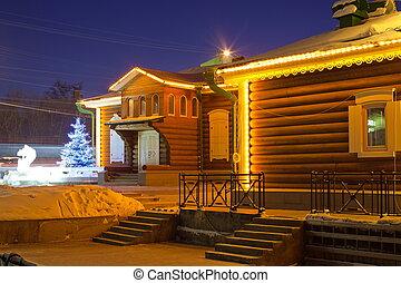 Lighted house. Irkutsk. Siberia. - 130 quarter. Irkutsk....