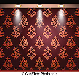 Lighted red seamless wall with lamp. Vector illustration