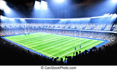 Lighted rugby stadium.