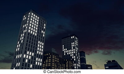 Lighted skyscrapers against night sky time lapse