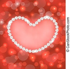 Lighten background with heart made in pearls for Valentine Day, copy space for your text