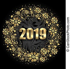 Lighten Round Frame with Golden Snowflakes on Black Background for Happy New Year 2019