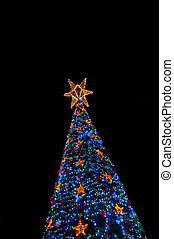 Lighten up christmas tree at night