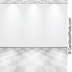lightened, blanc, checkered, salle, plancher