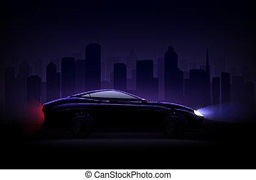 Lightened Car Night City Realistic