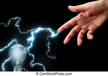 Lightening bulb - Lightening bolt passing through a light ...