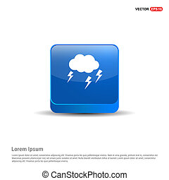 Lightening Cloud Icon - 3d Blue Button