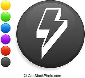 lightening icon on round internet button original vector...