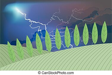 Lightening over farmland - Storm clouds and lightning over ...