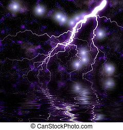 Fantasy space background with lightening and stars reflecting off water.