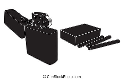Lighter And Cigarettes Vector
