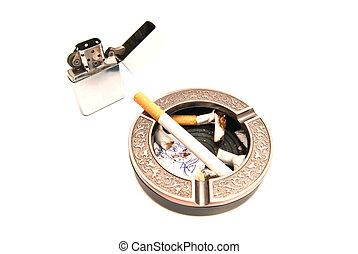 lighter, cigarette and portrait of child