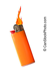 Lighter - Flaming plastic disposal lighter isolated on white