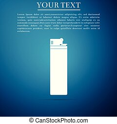 Lighter icon isolated on blue background. Flat design. Vector Illustration