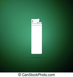 Lighter icon isolated on green background. Flat design. Vector Illustration