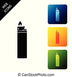Lighter icon isolated. Set icons colorful square buttons. Vector Illustration