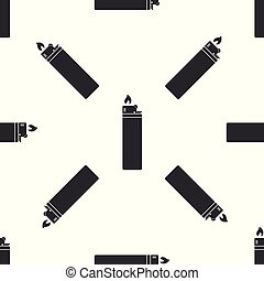 Lighter icon seamless pattern on white background. Flat design. Vector Illustration