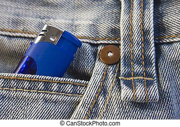Lighter in jeans pocket