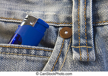 Lighter in jeans pocket