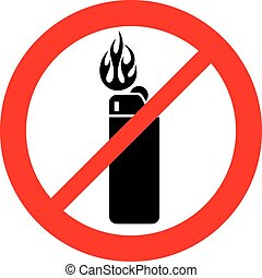 lighter not allowed sign (prohibition icon)