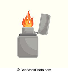 Lighter with burning flame vector Illustration on a white background