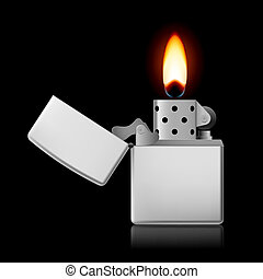 Lighter with flame.