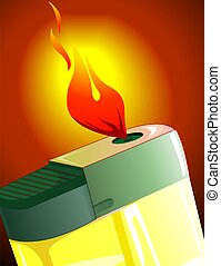 Lighter with flame in a yellow bac