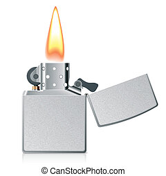 Lighter with flame - Vector photorealistic illustration of a...