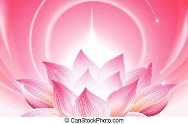 lightful lotus background - complete pink lotus at the lower...