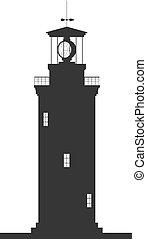 lighthouse., 黑色半面畫像, ......的, 大, 燈塔, 被隔离, 在懷特上, 背景