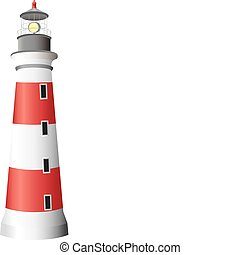 A white and red lighthouse isolated on a white background. Editable vector illustration.
