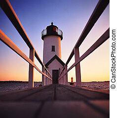 Lighthouse after sunset - Anisquam lighthouse located in ...