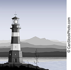 Lighthouse against a mountain range.