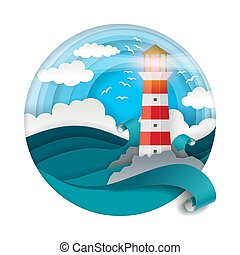 Lighthouse among raging waves vector illustration in paper art style