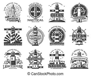 Lighthouse and beacon heraldic icons
