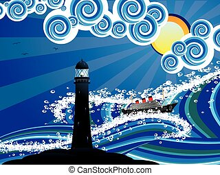 Lighthouse and Boat in the Sea - Sailboat and lighthouse in...