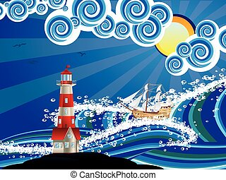 Lighthouse and Boat in the Sea