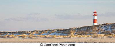 Lighthouse and dunes wide
