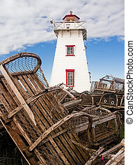 Lighthouse and Lobster Traps, PEI - Old lobster pots...