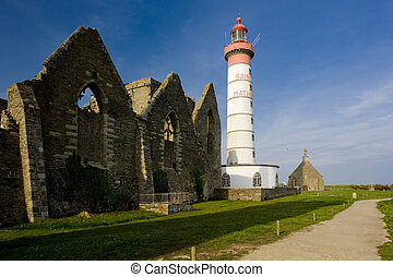 lighthouse and ruin of monastery, Pointe de Saint Mathieu, Brittany, France