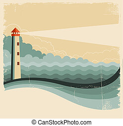 Lighthouse and sea waves. Vintage image on old background