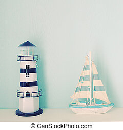 Lighthouse and ship model for decorated in room with retro ...