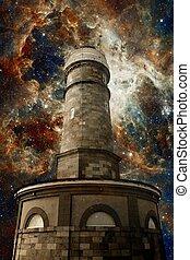 Lighthouse and the Tarantula Nebula background (Elements of...