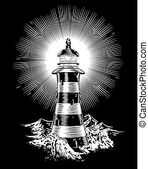 Lighthouse and waves - An illustration of a black and white...