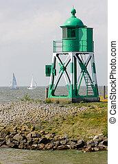 lighthouse and yachts, Stavoren, Friesland, Netherlands