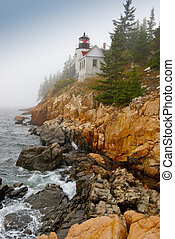 Lighthouse at Bass Harbor - Lighthouse in fog located at...